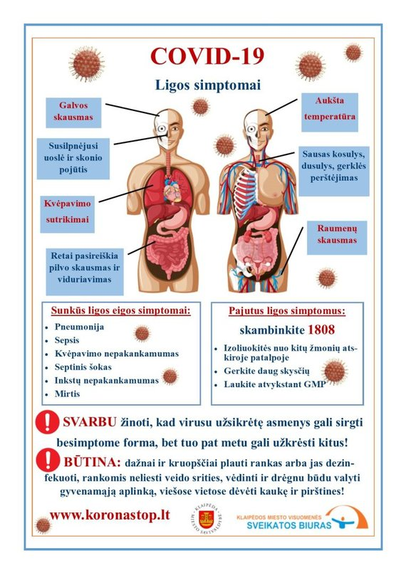 Klaipėdos VSB iliustracija/COVID-19 ligos simptomai