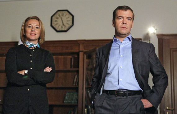 """Scanpix"" nuotr./Natalija Timakova ir Dmitrijus Medvedevas 2010 metais"