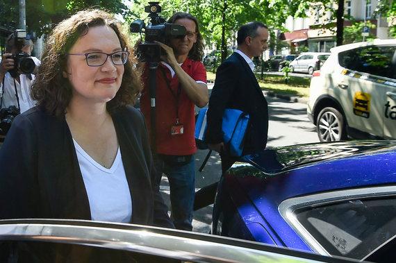 """AFP/""""Scanpix"""" nuotr./Atsistatydinusi Vokietijos socialdemokratų partijos pirmininkė Andrea Nahles"""