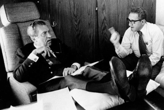 """""""Scanpix""""/AP nuotr./Richardas Nixonas ir Henry Kissingeris 1974 metais"""