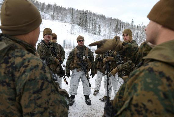 """""""Reuters""""/""""Scanpix"""" nuotr./JAV jūrų pėstininkai Norvegijos šiaurėje"""