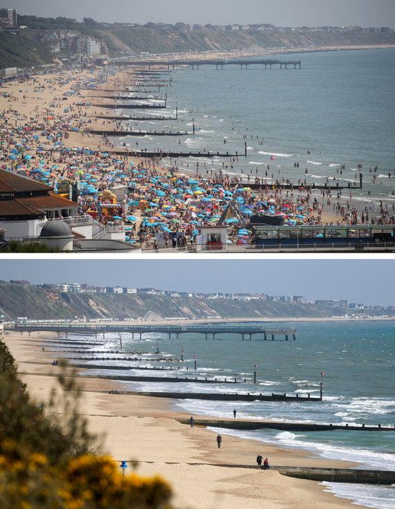 """""""Scanpix""""/""""PA Wire""""/""""Press Association Images"""" nuotr./Bornmuto paplūdimys Anglijos pietuose pernai rugsėjį (viršuje) ir pirmadienį (apačioje)"""