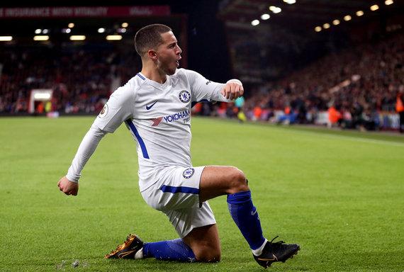 """""""Scanpix""""/""""PA Wire""""/""""Press Association Images"""" nuotr./Edenas Hazardas po įvarčio į """"Bournemouth"""" vartus"""