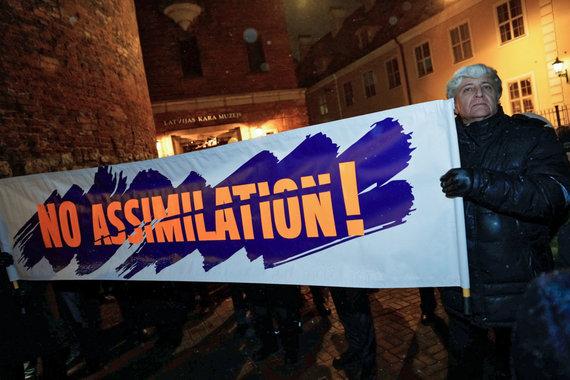 """""""Scanpix"""" nuotr./Latvijos rusakalbių protestas prieš permainas švietimo sistemoje"""