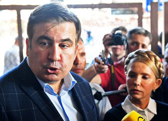 """AFP/""""Scanpix"""" nuotr./Michailas Saakašvilis ir Julija Tymošenko"""