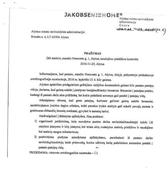 Jakobsen Home laiškas dėl gaisro