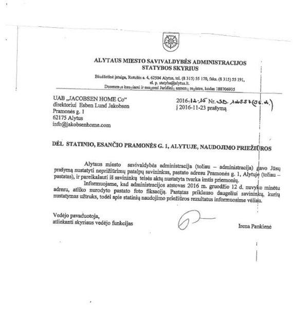Savivaldybės laiškas dėl gaisro