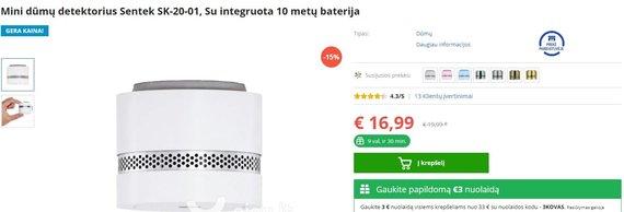Dūmų detektorius Lietuvos prekyboje