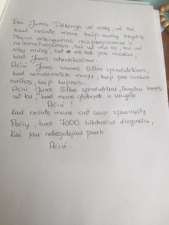 Asmeninio archyvo nuotr./Padėkos laiškas