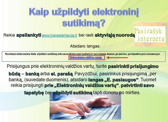 Nacionalinio transplantacijos biuro nuotr./Kaip užpildyti elektroninį sutikimą