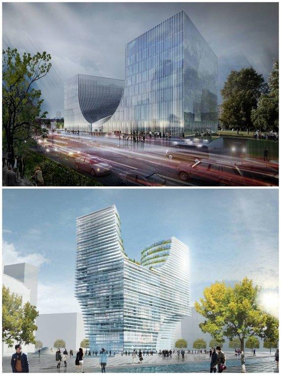 """Viršuje – """"Cloud architektų"""" projektuoti Teismų rūmai, apačioje – Hangdžou bokštas Kinijoje, """"JDS Architects"""""""