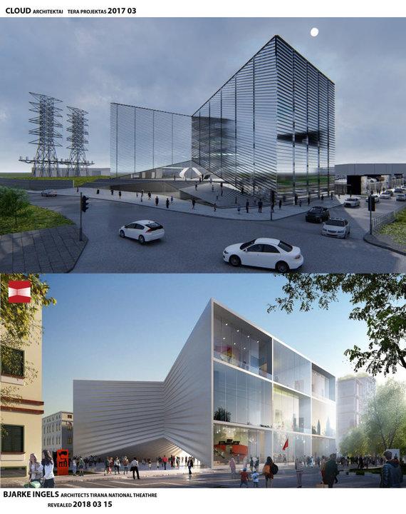 """Viršuje – """"Cloud architektų"""" projektas, apačioje – """"Bjarke Ingels Group BIG"""" projektas"""