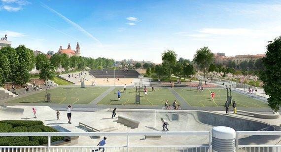 Vilniaus m. sav. vizualizacija /Prie Baltojo tilto atsiras naujas sporto aikštynas