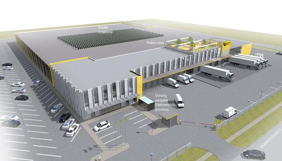 Bendrovės vizualizacija/2021 m. pradžioje prie Vilniaus oro uosto pradės veikti naujas Lietuvos pašto logistikos centras