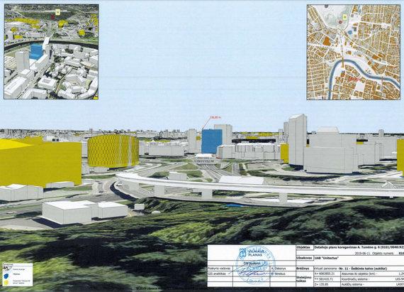 """""""Unitectus""""/Virš Geležinio Vilko gatvės planuojamas 16-os aukštų pastatas"""