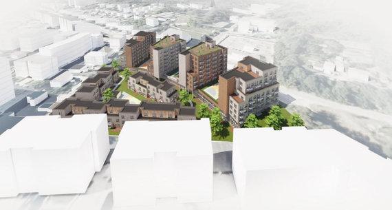 """""""Vilniaus architektūros studija""""/""""Rewo"""" planuojamas projektas Paribio gatvėje"""