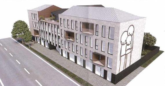 """""""Unitectus"""" vizualizacija/Algirdo gatvėje planuojamas biurų pastatas"""