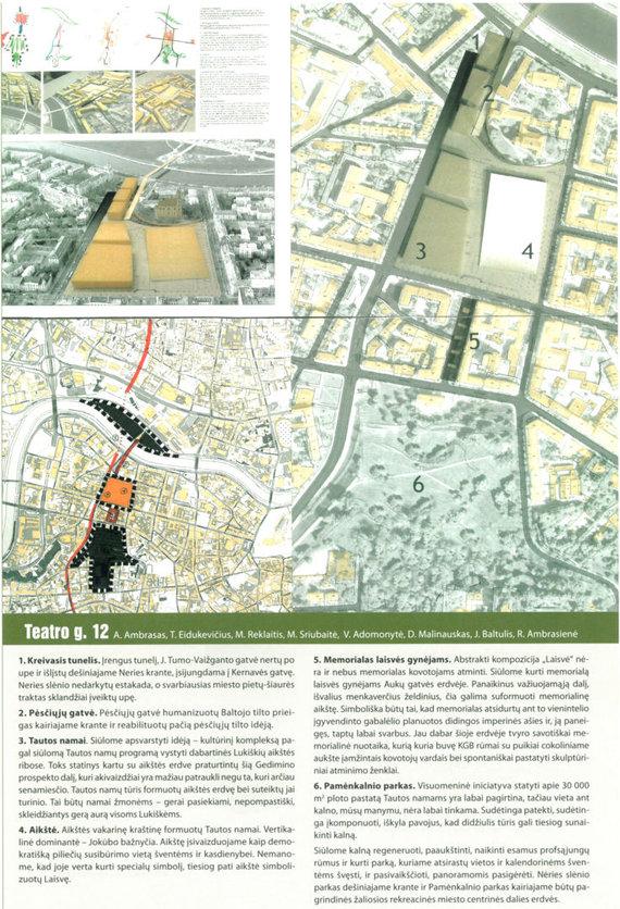 """A.Ambraso archyvas/""""Vilniaus centrinės dalies viešųjų erdvių ir prieigų prie Lukiškių aikštės pasiūlymų kūrybinės dirbtuvės"""", 2007 m., aiškinraščio ištrauka"""