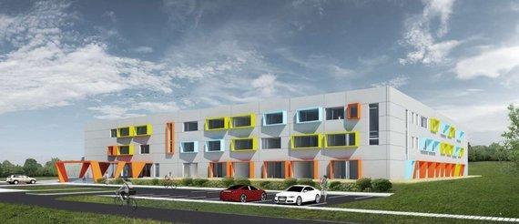 """""""Barprojektas"""" vizualizacija /Kalnėnuose planuojama statyti mokyklą"""