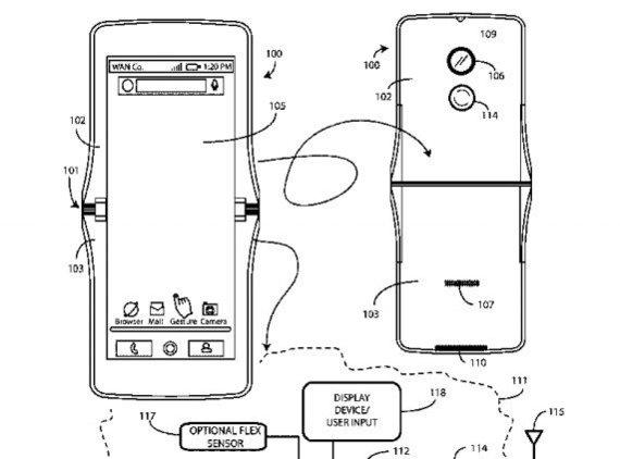 "USPTO.gov iliustr./""Motorola"" patente pavaizduotas vertikaliai perlenkiamo išmaniojo telefono dizainas"