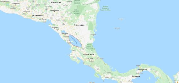 Google Maps iliustr./Nikaragvos ežeras (apibrauktas raudonai)