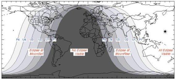 NASA nuotr./Kaip Mėnulio užtemimas matomas skirtingose pasaulio vietose