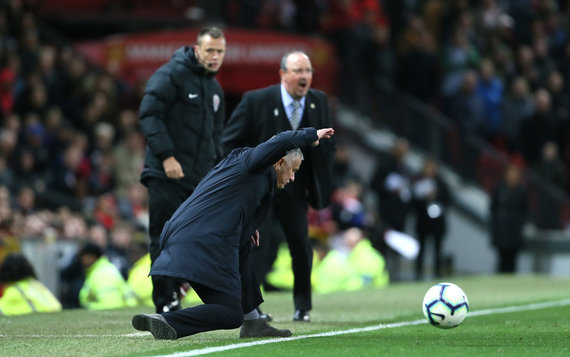 """""""Scanpix"""" nuotr./Jose Mourinho treniruojamas """"Manchester United"""" išplėšė pergalę 3:2 prieš """"Newcastle United""""."""