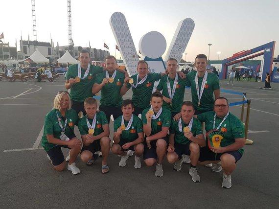 Organizatorių nuotr./Specialiosiose žaidynėse Abu Dabyje Lietuvos futbolininkai finale 4:2 įveikė brazilus.