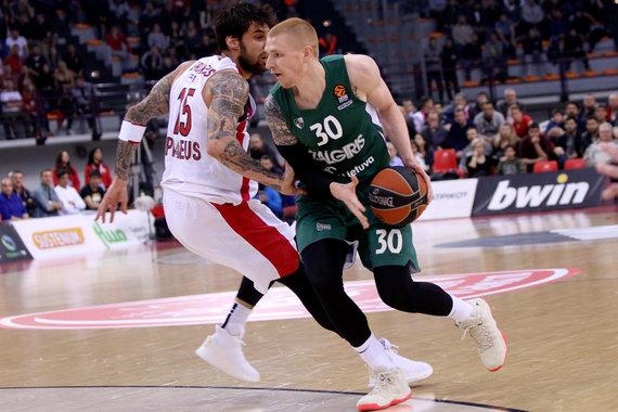 """Getty Images/Euroleague.net nuotr./Eurolygos mūšis Pirėjuje: """"Olympiakos"""" – Kauno """"Žalgiris""""."""