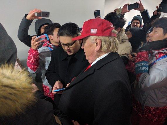 Kęsto Rimkaus nuotr./Netikri: Donaldas Trumpas ir Kim Jung Unas pasirodė olimpiniame Pjončango stadione.