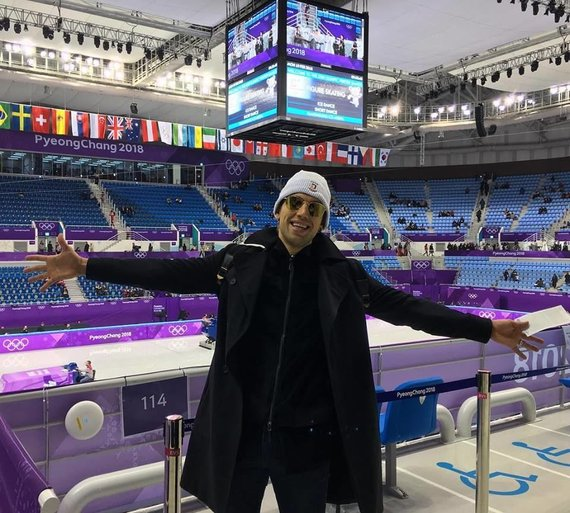 Asmeninio albumo nuotr./Deividas Stagniūnas į Pjongčangą atvyko palaikyti Vokietijos čiuožėjos Kavitos Lorenz.