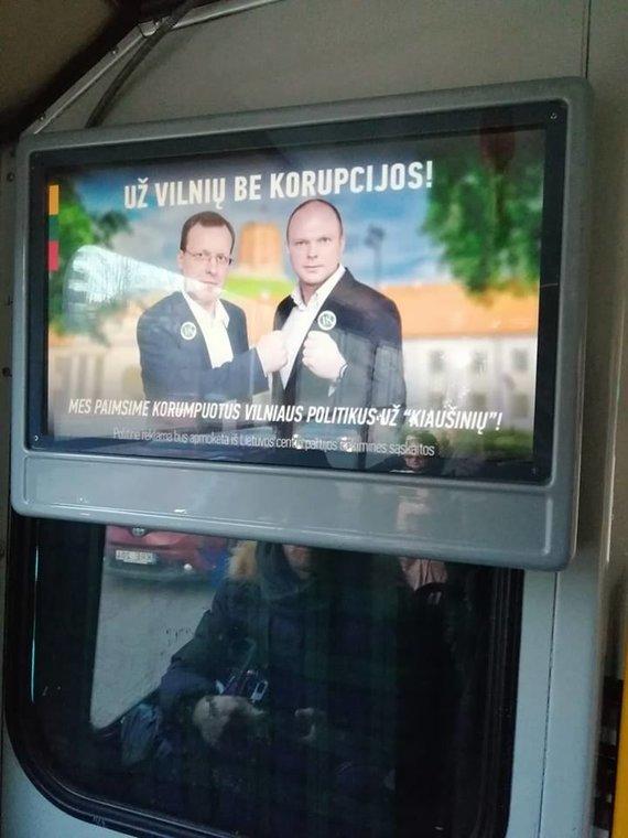Lietuvos centro partijos politinė reklama viešajame transporte