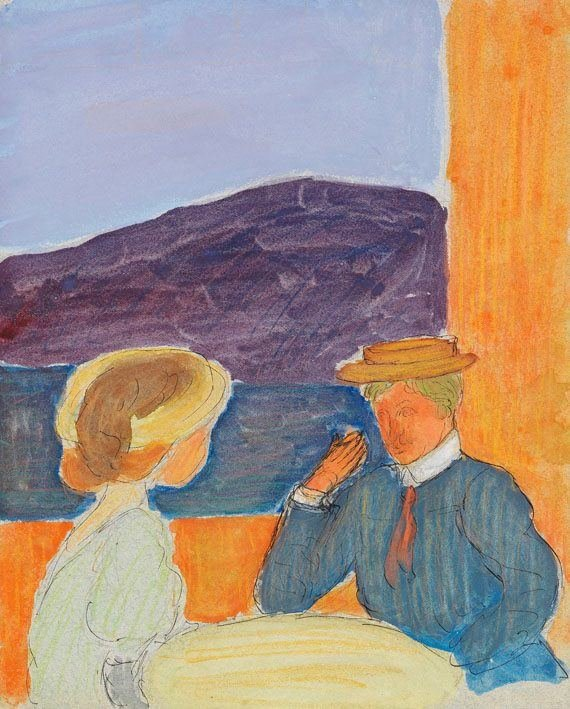 """Vilniaus aukciono / """"Facebook"""" nuotr./Marianne VON WEREFKIN (1870-1938) Paar im Gespräch, 1908"""