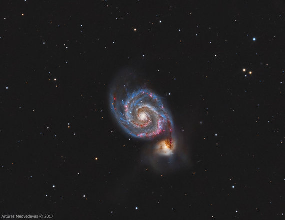 """Artūro Medvedevo nuotr./Artūro užfiksuota M51 (""""Sūkurinė"""") galaktika"""