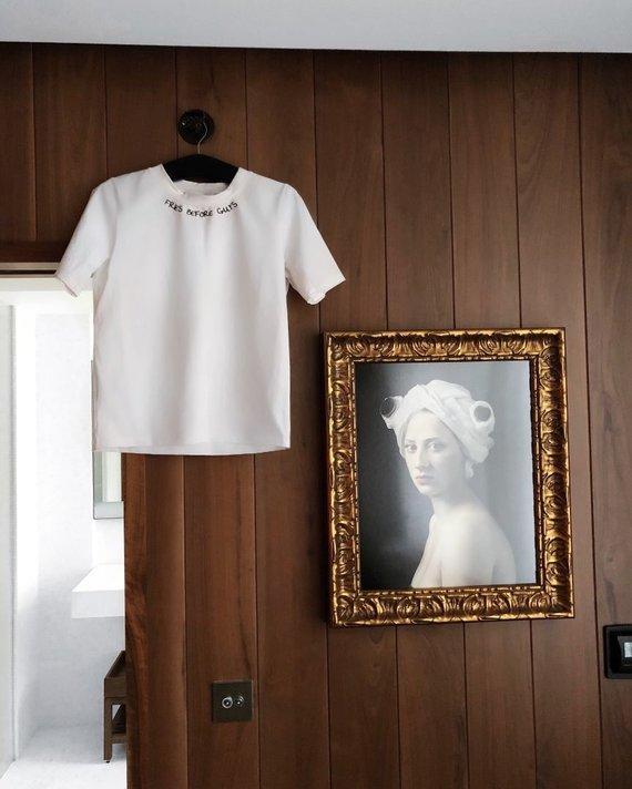 """Asmeninio archyvo nuotr./""""Le SLAP"""" kurti balti marškinėliai (Niujorkas)"""