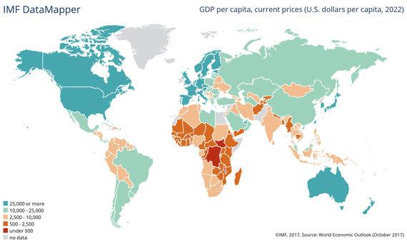 Tarptautinio valiutos fondo nuotr./BVP vienam gyventojui 2018 metais, einamosiomis kainomis