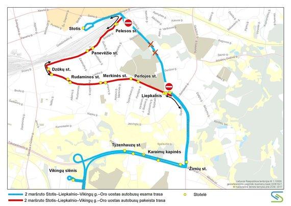 Vilniaus miesto savivaldybės nuotr./2 maršruto autobusų trasa