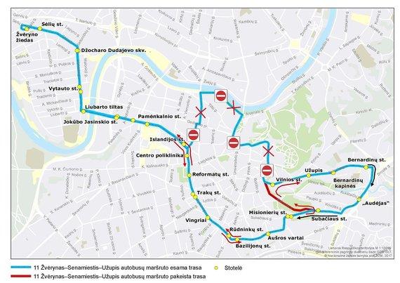 Vilniaus miesto savivaldybės nuotr./11 maršruto autobusų trasa