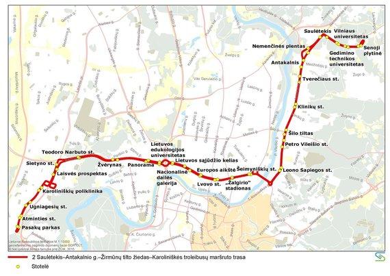 Vilniaus miesto savivaldybės nuotr./2 maršruto troleibusų trasa liepos 6 d.