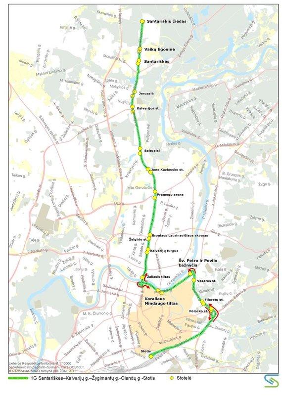Vilniaus miesto savivaldybės nuotr./1G maršruto autobusų trasa liepos 6 d.