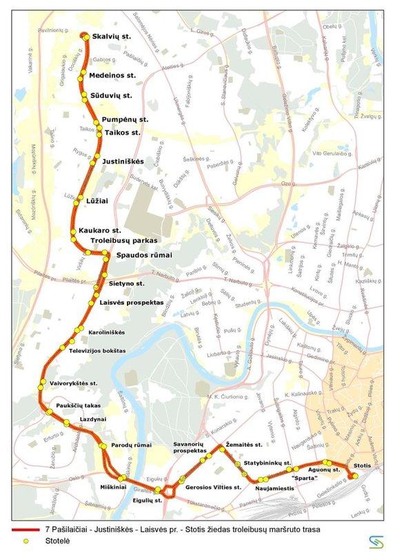 Vilniaus miesto savivaldybės nuotr./7 maršruto troleibusų trasa liepos 6 d.