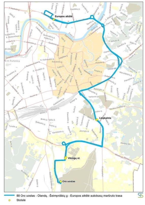Vilniaus miesto savivaldybės nuotr./88 maršruto autobusų trasa liepos 6 d.
