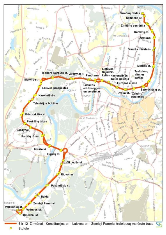 Vilniaus miesto savivaldybės nuotr./6 ir 12 maršruto troleibusų trasa liepos 6 d.