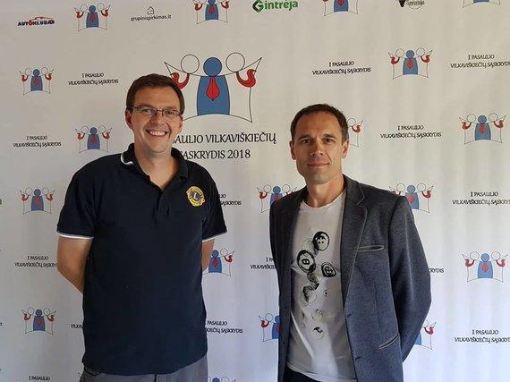 """Visuomeninio judėjimo """"Už vieningą Vilkaviškio kraštą"""" nuotr./Organizatoriai - Žilvinas Gelgota ir Robertas Deltuvas"""