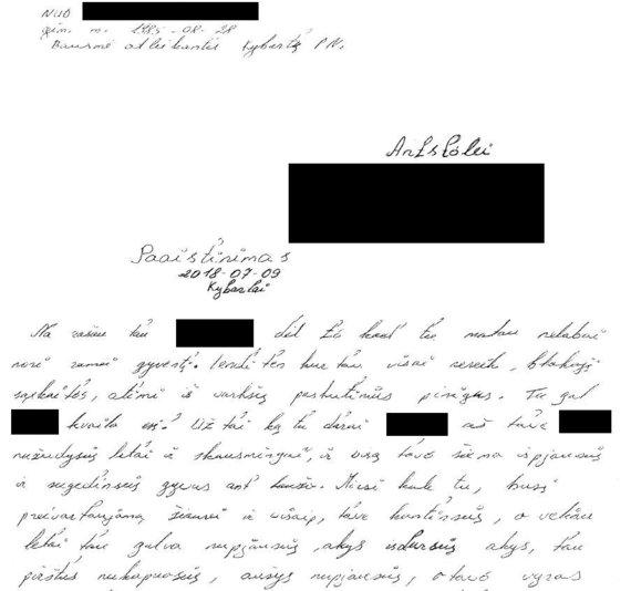 Lietuvos antstolių rūmų nuotr./Laiškas antstoliui su grasinimu gyvybei iš Kybartų pataisos namų