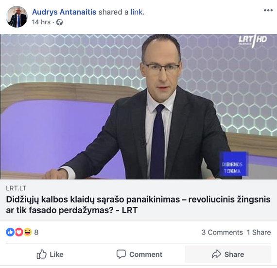 """Domo Raibio nuotr./A.Antanaitis dalinasi laidos """"Dėmesio centre"""" nuoroda"""