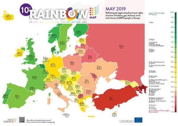 LGL nuotr./Europos LGBTI teisių žemėlapyje Lietuva pakilo į 32-ąją vietą