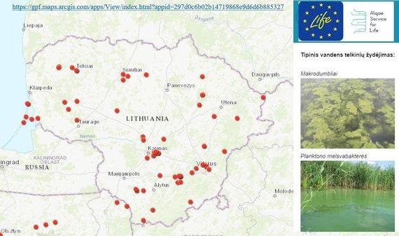 """Gamtos tyrimų centro nuotr./Interaktyvus žemėlapis su pažymėtais """"žydinčiais"""" vandens telkiniais"""