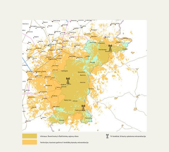 LRV nuotr./Lenkijos televizijos transliacijų aprėpties žemėlapis