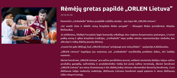 """""""Lietkabelio"""" pranešimas, kuriame skelbiama apie """"Orlen Lietuvos"""" paramą"""